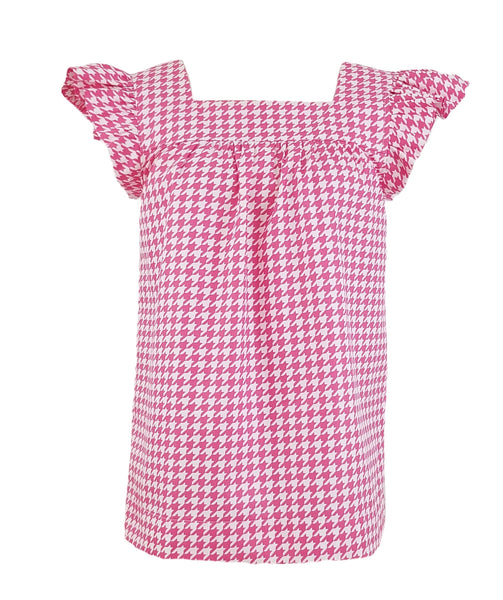 The Low Country Top in Hot Pink Houndstooth