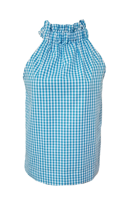 "The Kiawah Top in Turquoise 1/4"" Gingham"