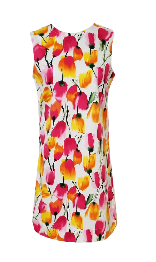 The Hilton Sleeveless Shift Dress in Blooming Tulips