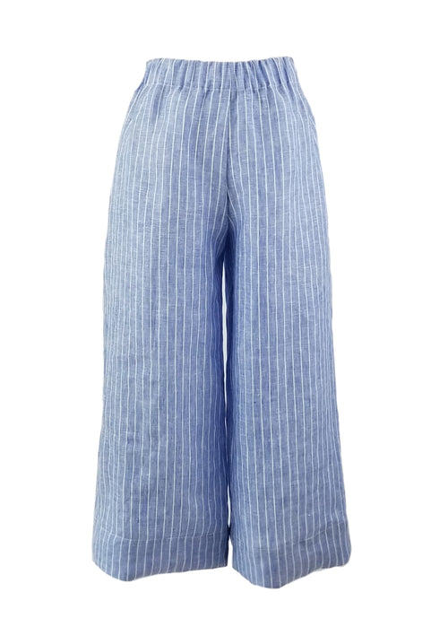 The Coastal Culotte in Blue Stripe Linen