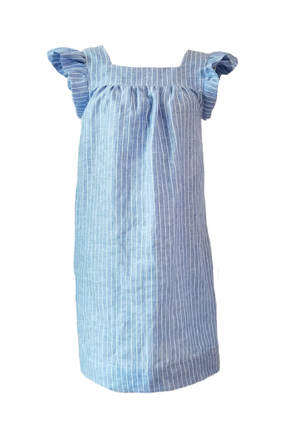 The Low Country Dress in Blue Stripe Linen
