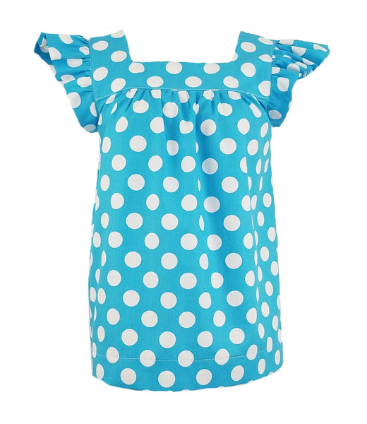 The Low Country Top in Turquoise Polka Dot