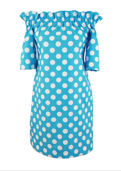 The Derby Dress in Turquoise Polka Dot
