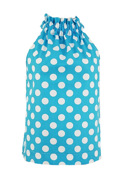 The Kiawah Top in Turquoise Polka Dot