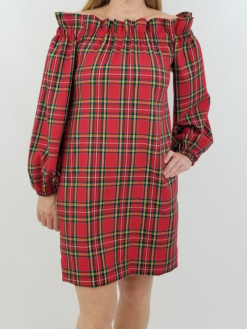 The Derby Dress long sleeve in Red Tartan Plaid