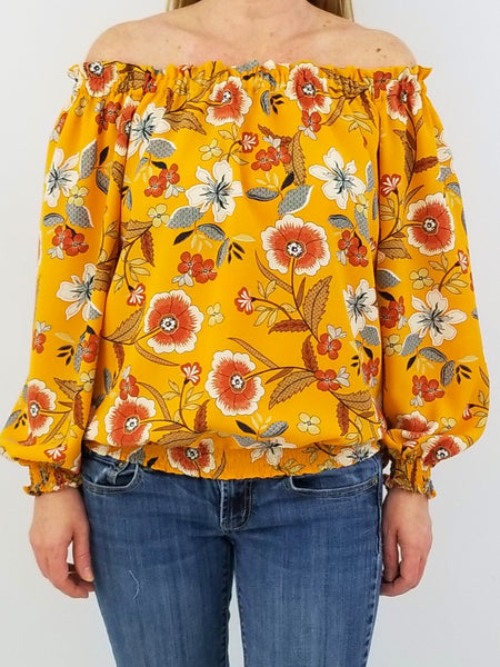 The Mini Derby Top in Mustard Floral
