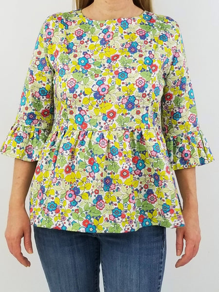 The Carolina Top in Lawn Floral