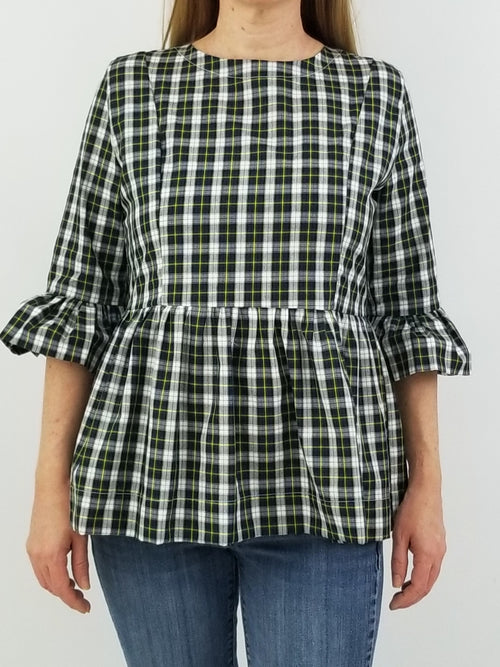 The Carolina Top in Navy Tartan Plaid