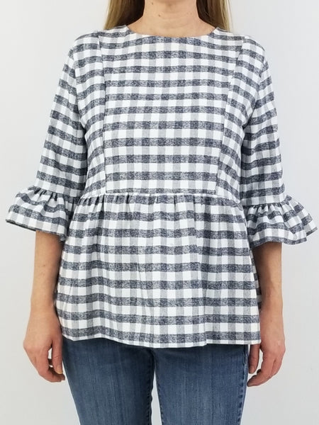 The Carolina Top in Gray Gingham Flannel