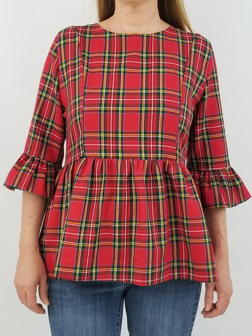 The Carolina Top in Red Tartan Plaid