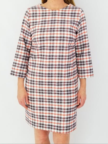The Hilton Shift Dress in Fuzzy Flannel plaid orange & brown