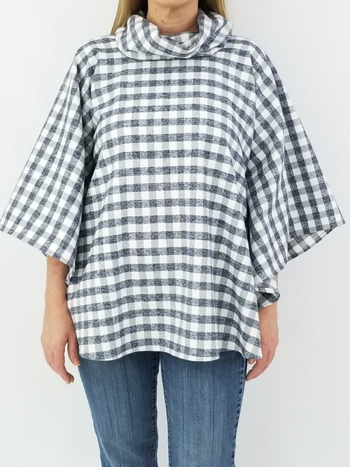The Easley Poncho in Gray Gingham Flannel