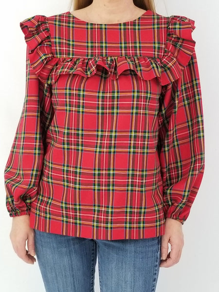 The Blufton Top in Red Tartan Plaid