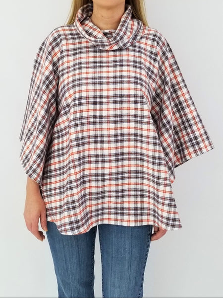 The Easley Poncho in Fuzzy flannel orange & brown plaid