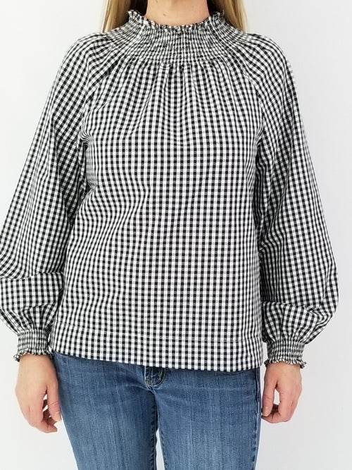 The Abbeville Top in Black Gingham