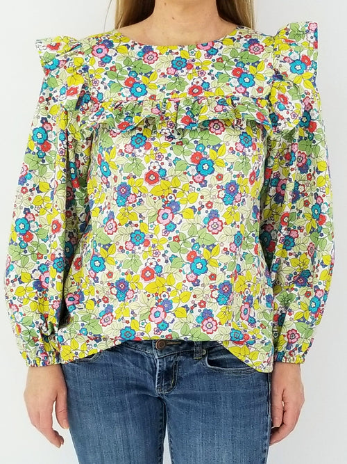 The Blufton Top in Lawn Floral