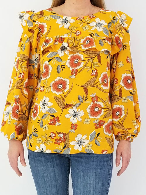 The Blufton Top in Mustard Floral