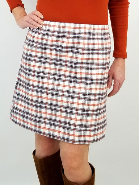 The Hampton Skirt in Fuzzy Flannel orange & brown plaid