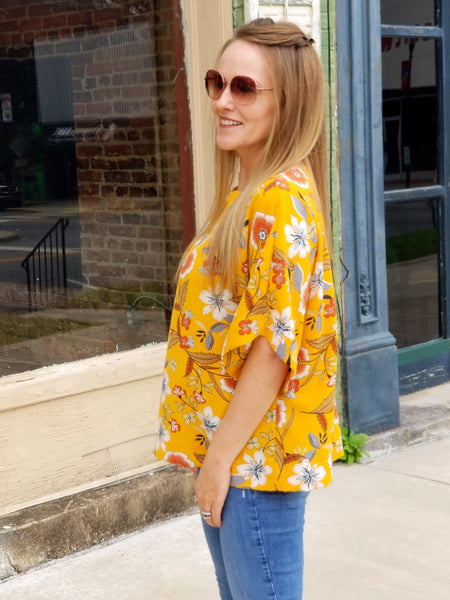 The Collins Top in Mustard Floral