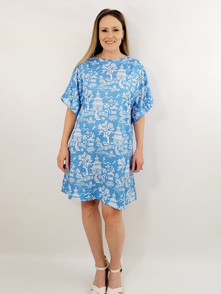 The Collins Dress in Pagoda Blue