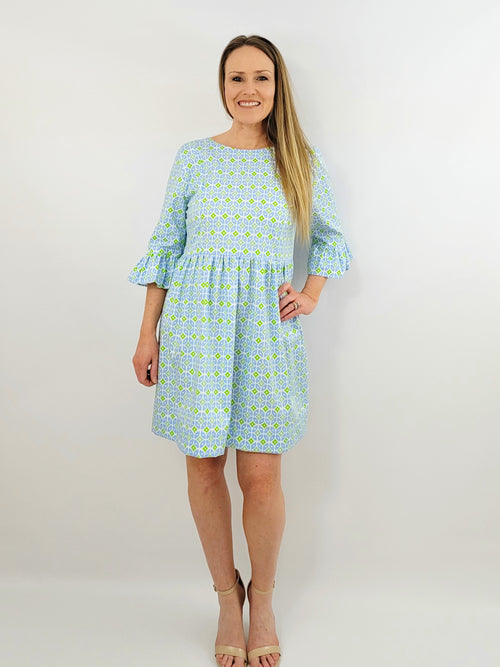 The Carolina dress in Periwinkle Geo