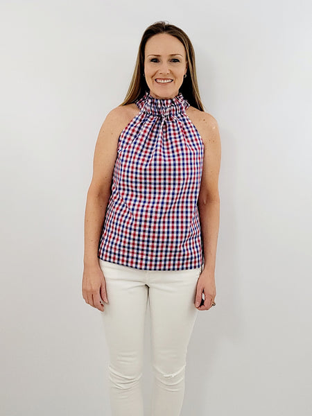 The Kiawah Top in Red, White and Blue Gingham