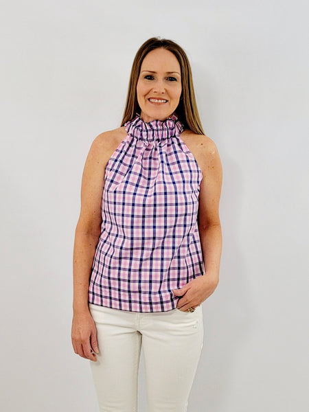 The Kiawah Top in Royal Gingham