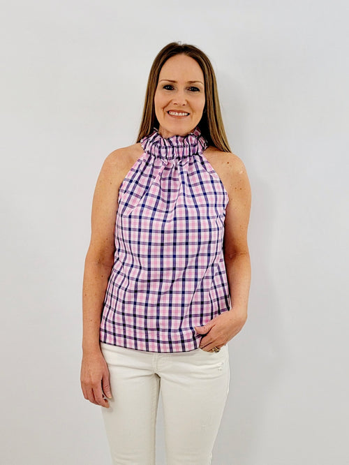 The Kiawah Top in Pink and Navy gingham Check