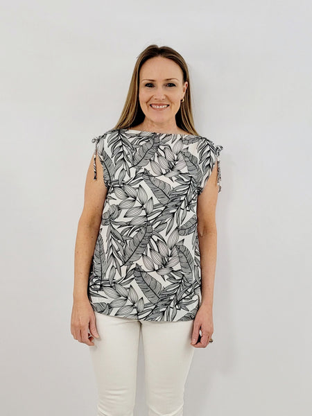 The Athena Top in Black & White Palm