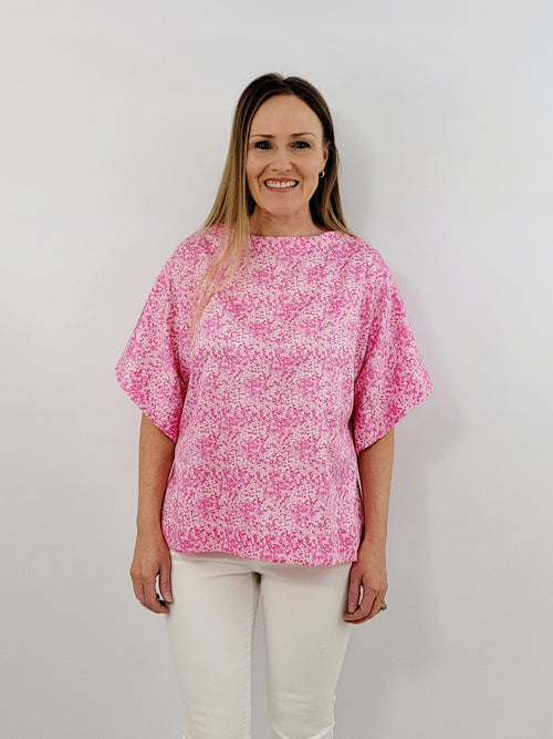 The Collins Top in Pink Lawn