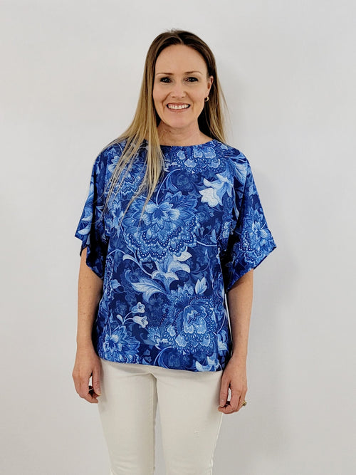 The Collins Top in Ginger Jar Blue