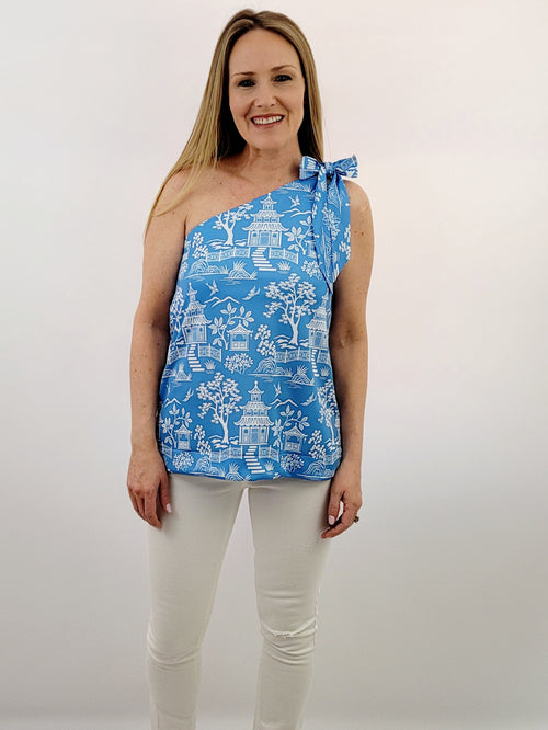 The Helena Top in Pagoda Blue