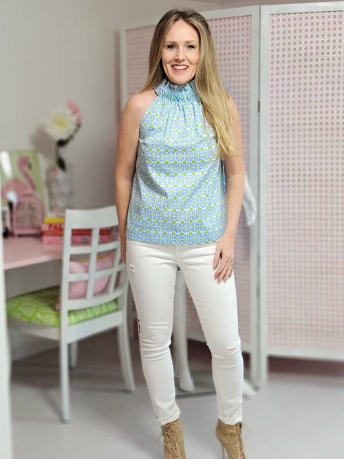 The Kiawah Top in Periwinkle Geo