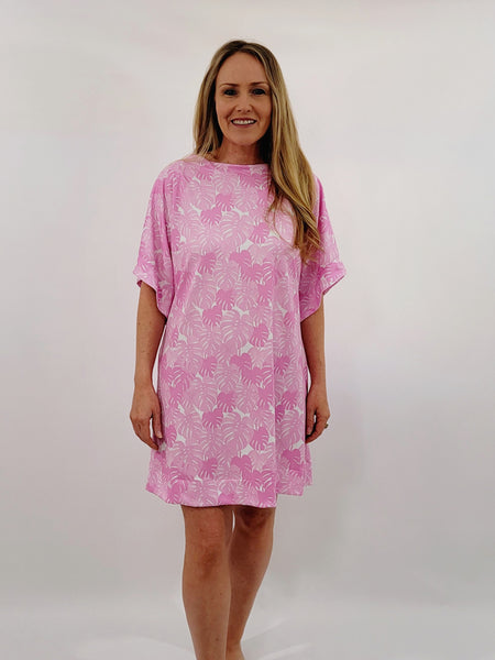 The Collins Dress in Pink Monstera