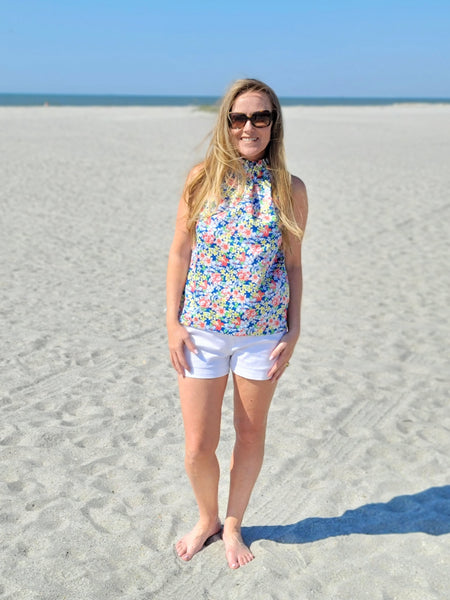 The Kiawah Top in Tiki Blue