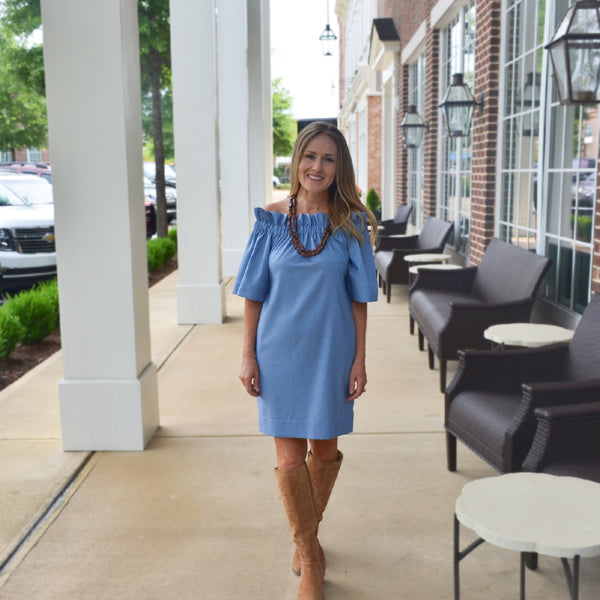 The Derby Dress in Featherlight Blue Denim