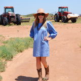 The Bluffton Dress in Featherlight Blue Denim