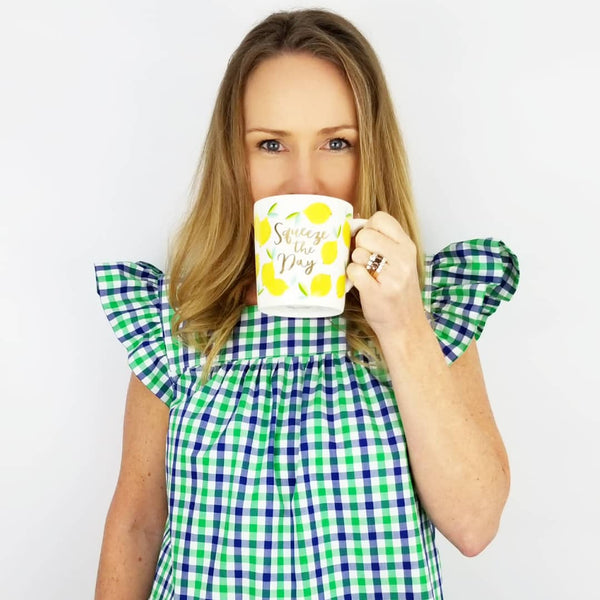 The Low Country Top in Green and Navy gingham
