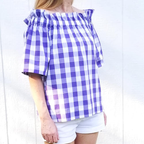 "The Derby top in Purple 1"" Gingham"