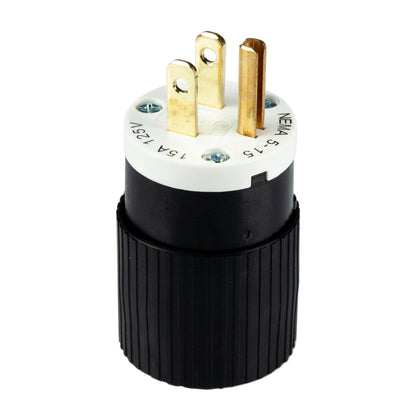 15A, 125VAC, 2 Pole 3 Wire Plug