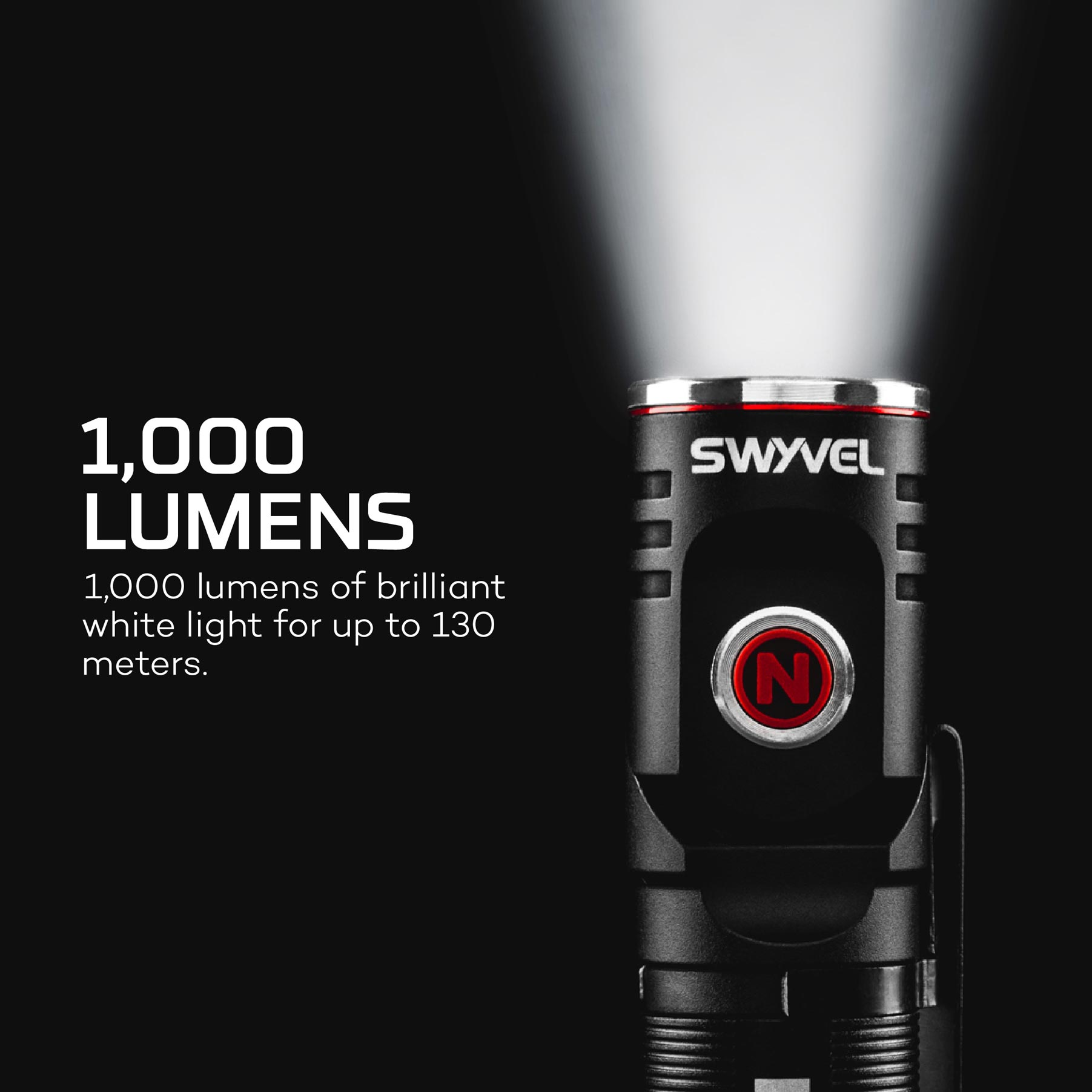 SWYVEL - Compact 1,000 Lumen Rechargeable EDC Flashlight with a 90º Rotating Swivel Head