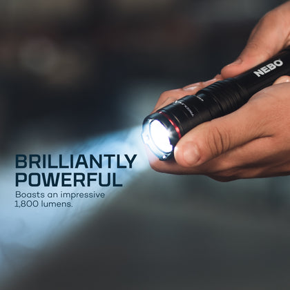 REDLINE X - Rechargeable LED Flashlight with 1800 Lumen Turbo Mode