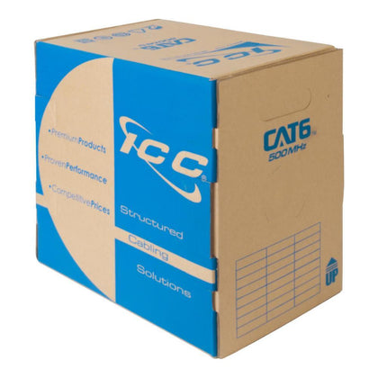 CAT6 Bulk Cable with 23 AWG UTP Solid Wires - 1000 Feet (ICCABR6VBL)