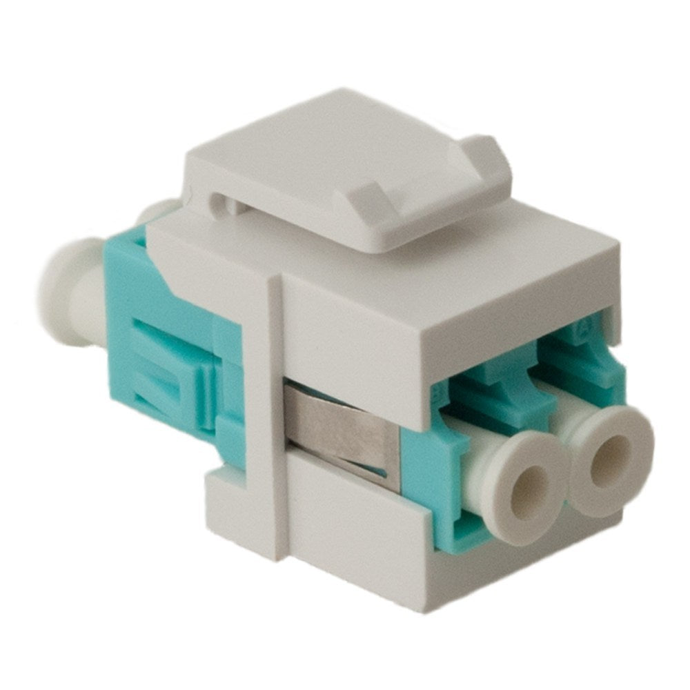 LC Fiber Optic Keystone Coupler (OM3) with Metal Sleeves and Duplex Ports (IC107LCGWH)