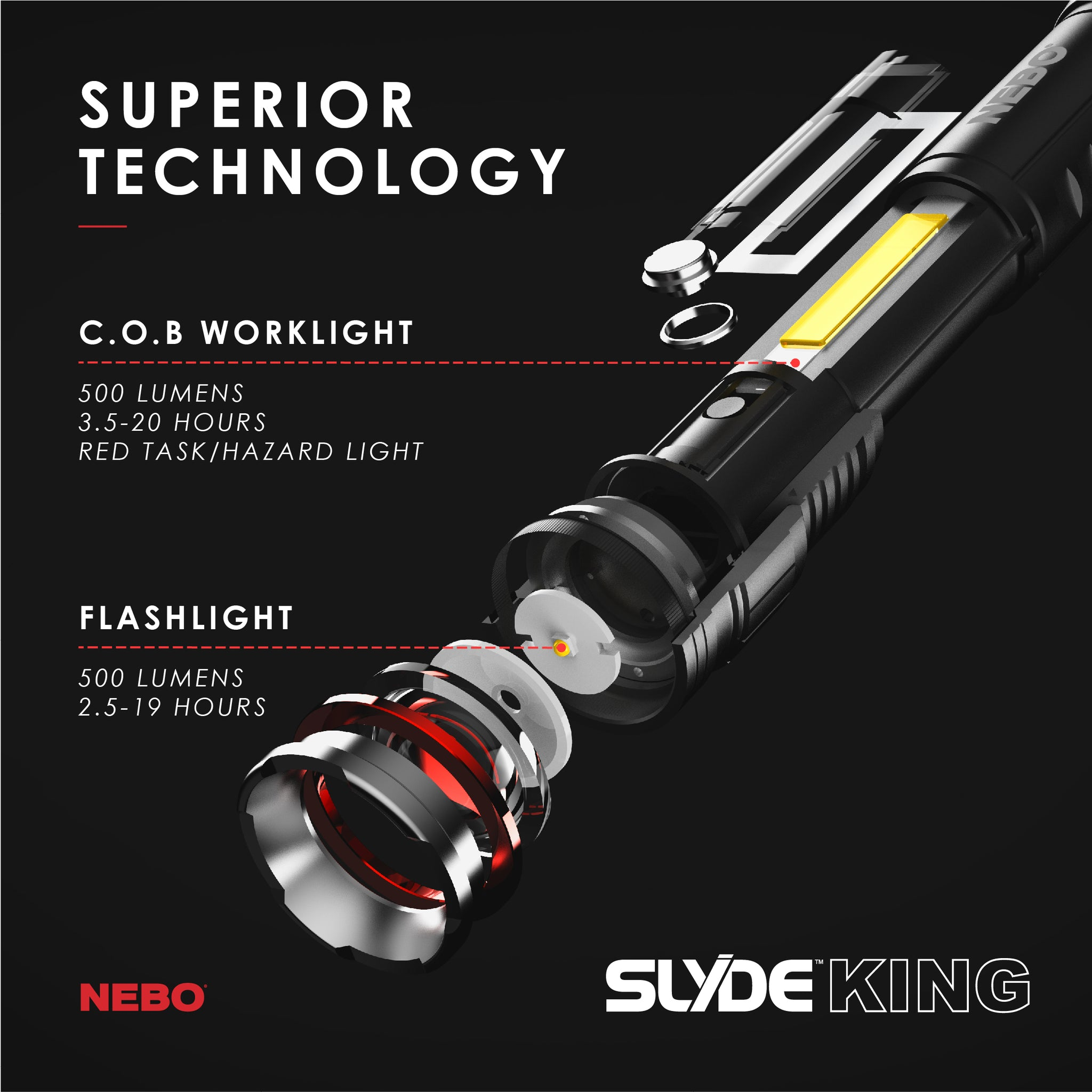 SLYDE™ KING - Rechargeable LED Flashlight