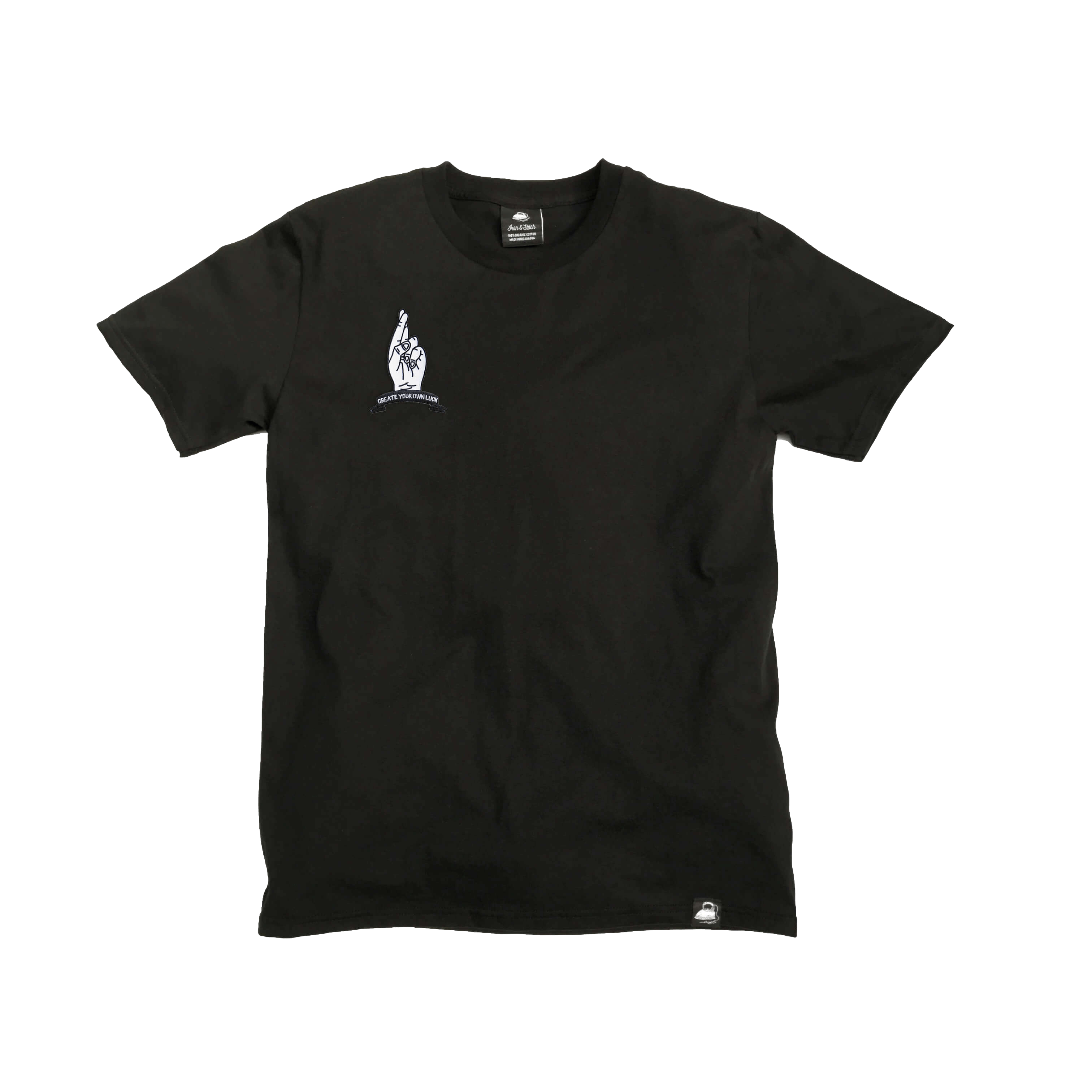 Black Organic Cotton Tee + Create Your Own Luck Patch (R) - Iron & Stitch