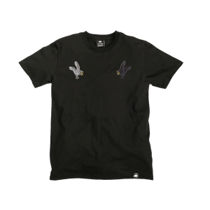 Black Organic Cotton Tee + Eagles Patch Pack (R) - Iron & Stitch