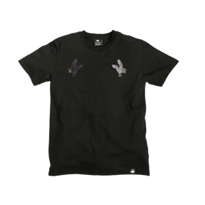 Black Organic Cotton Tee + Eagles Patch Pack (L) - Iron & Stitch