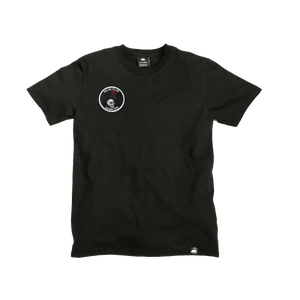 Black Organic Cotton Tee + Rose Skull Patch (R) - Iron & Stitch