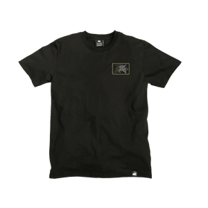 Black Organic Cotton Tee + Samurai Patch (L) - Iron & Stitch